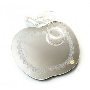 Apple Shaped Crystal Glass Tray and Honey Dish for Rosh Hashanah - Crushed Glass