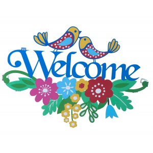 Dorit Judaica Wall Plaque Colorful Doves and Flowers - Welcome