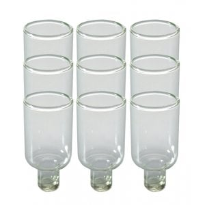 Nine pc Set of Glass Oil Menorah Inserts - Small