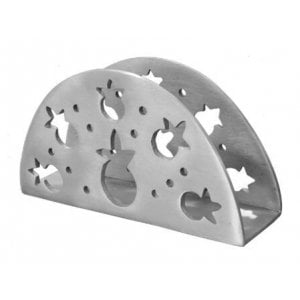 Yair Emanuel Semi-circle Napkin Serviette Holder with Pomegranate Cutouts - Silver