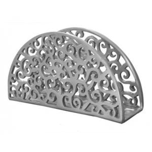 Yair Emanuel Aluminum Napkin Serviette Holder, Swirling Filigree - Silver