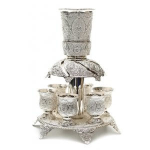 Silver Plated Filigree Design Kiddush Fountain with Six Cups on Raised Tray