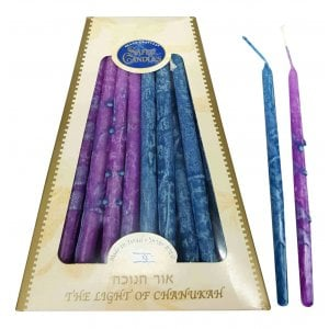 Handmade Safed Dripless Hanukkah Candles - Purple and Blue Mix