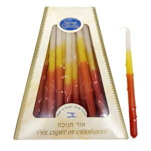 Handmade Safed Dripless Hanukkah Candles - Bright Fire Colors