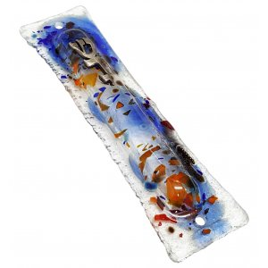 Opaque Glass Mezuzah Case Pewter Shin Daled Yud - Blue Abstract Design
