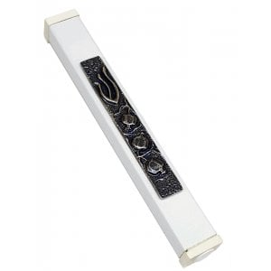 White Aluminum Mezuzah Case Decorative Shin - Pomegranates