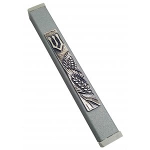 Gray Aluminum Mezuzah Case - Elegant Shin and Wheat Motif