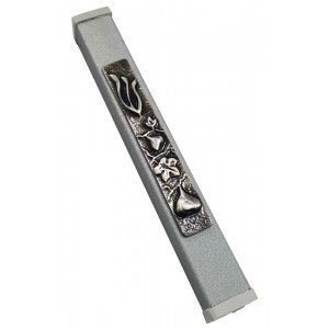 Gray Aluminum Mezuzah Case Metal Shin - Fig Design