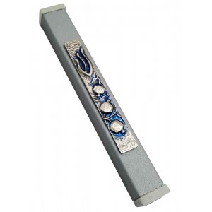 Gray Aluminum Mezuzah Case Elegant Shin and Pomegranates - Blue Tinges