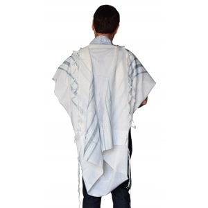 Talitnia Gilboa Light Weight Non Slip Tallit Wool Tallit Prayer Shawl - Light Blue Strips
