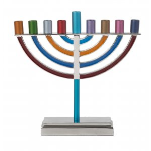 Yair Emanuel Classic Contemporary Aluminum Chanukah Menorah - Colorful