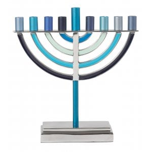 Yair Emanuel Classic Contemporary Aluminum Hanukkah Menorah - Shades of Blue