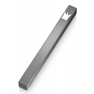 Adi Sidler Silver Crown Smooth Mezuzah Case - Dark Gray
