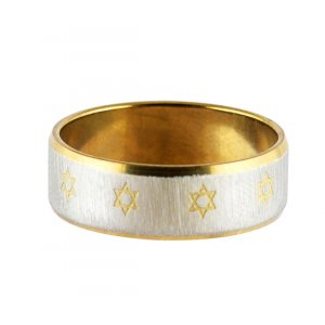 Stainless Steel Two Tone Ring with Small Stars of David