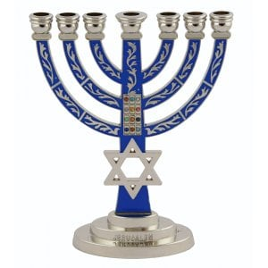 Star of David Breastplate 7 Branch Menorah in Silver Plated - Blue