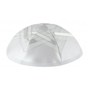 White Satin Kippah - Stars of David