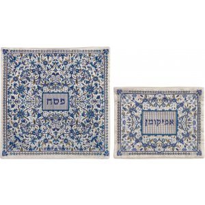 Yair Emanuel Embroidered Floral Matzah & Afikoman Set - Blue