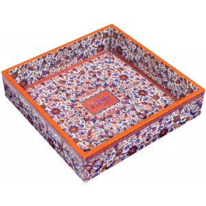 Yair Emanuel Hand Painted Wood Matzah Tray Floral - Orange and Blue