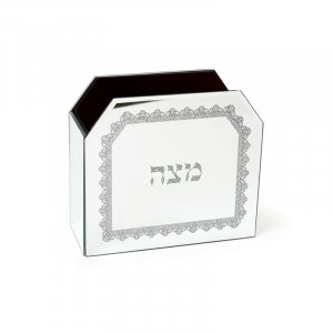 Wood and Crystal Upright Matzah Stand - Lace Design