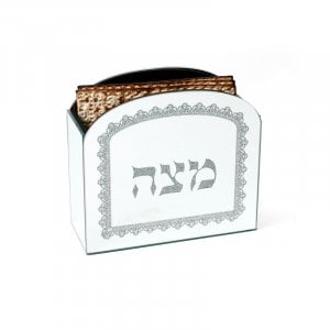 Wood and Crystal Upright Matzah Holder - Lace Design