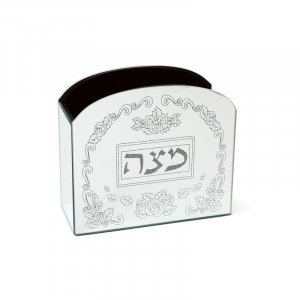 Wood and Crystal Upright Matzah Holder - Roses