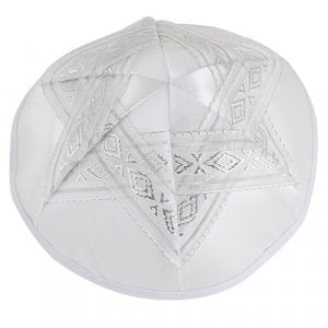 White Satin Kippah with Silver Ribbon Star of David Design