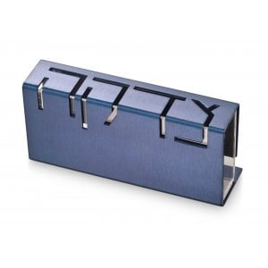 Adi Sidler Contemporary Anodized Aluminum Charity Tzedakah Box - Blue