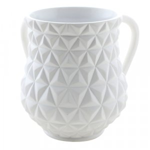 White Triangles Polyresin Netilat Yadayim Wash Cup