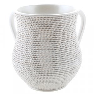 White Rope Design Polyresin Netilat Yadayim Wash Cup