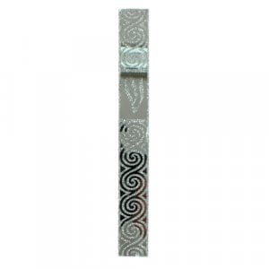 Glass Mezuzah Case with Shin - Silver Spiral Design