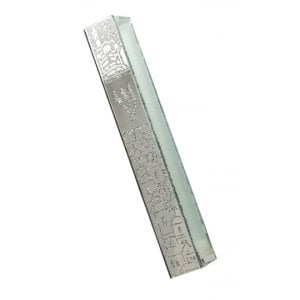 Glass Mezuzah Case - Frosted Silver Gray Jerusalem Images - Elongated Shin