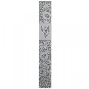 Glass Mezuzah Case with Elongated Shin - Silver Pomegranate Design