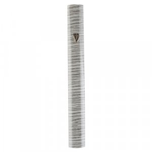 Rounded Aluminum Mezuzah Case - Gray Stripes