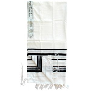 Talitnia Wool Tallit Traditional Kosher Prayer Shawl - Black & Silver Stripes
