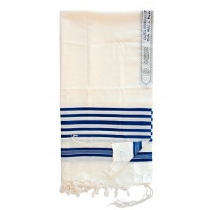 Talitnia Wool Tallit Traditional Kosher Prayer Shawl - Blue & White Stripes