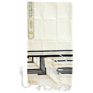 Talitnia Wool Tallit Traditional Kosher Prayer Shawl - Black & Gold Stripes