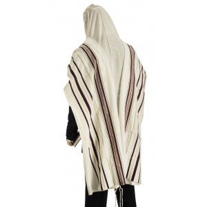 Talitnia Wool Tallit Traditional Kosher Prayer Shawl - Maroon & Gold Stripes