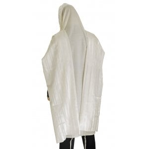 Talitnia Wool Tallit Traditional Kosher Prayer Shawl - White Stripes