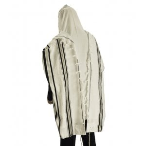 Talitnia Acrylic Tallit Imitation Wool Prayer Shawl - Black & Silver Stripes