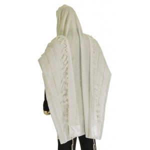 Talitnia Acrylic Tallit Imitation Wool Prayer Shawl - White & Silver Stripes