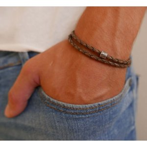 Galis Mans Double Wrap Brown Bracelet - Tube Element