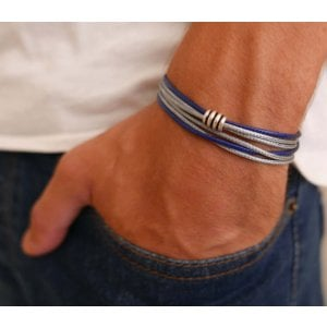 Galis Mens Double Wrap Blue and Gray Fabric Cord Bracelet with Bead Element
