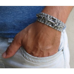 Galis Triple Wrap Gray Anchor Men's Bracelet