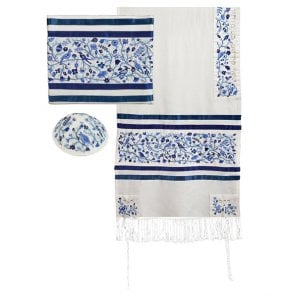 Yair Emanuel Embroidered Cotton Silk Tallit Set, Trees and Birds - Blue