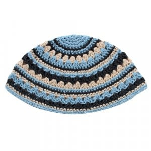 Frik Kippah in Light Blue and Gray Stripes