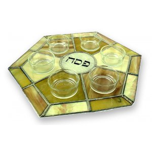 Light Shades Stained Glass Seder Plate by Friekmanndar
