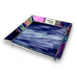 Shades of Purple Stained Glass Matzah Tray by Friekmanndar