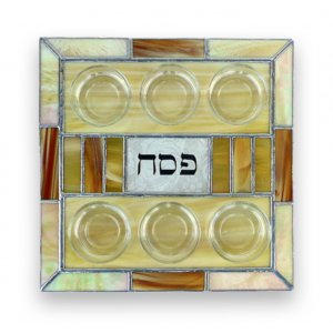 Shades of Beige Stained Glass Matzah Tray by Friekmanndar