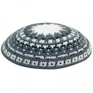 White and Gray DMC Knitted Kippah