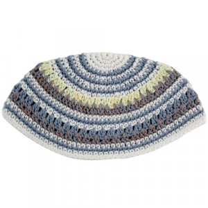 Frik Kippah in White, Light Blue, Gray and Yellow Stripes
